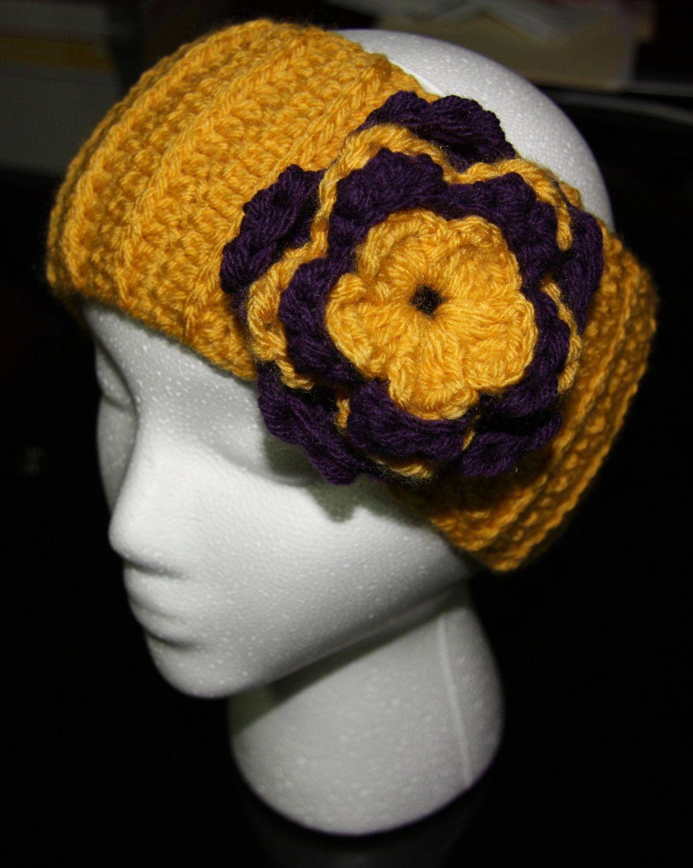 Handmade Crocheted Mustard Yellow Headband Or Earwarmer With Yellow