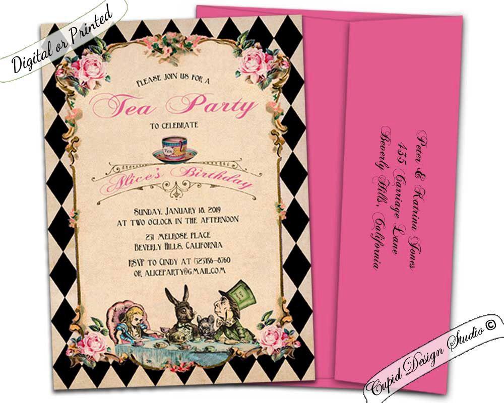 Alice in wonderland invitation printable/Alice and
