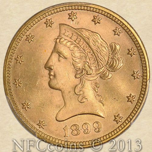 1899 Ten Dollar Gold Liberty Ms65 Pcgs Gold Coins Rare Coins Gold And Silver Coins
