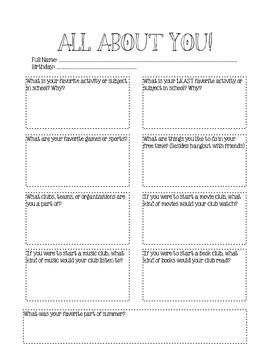 student interest survey middle school pdf