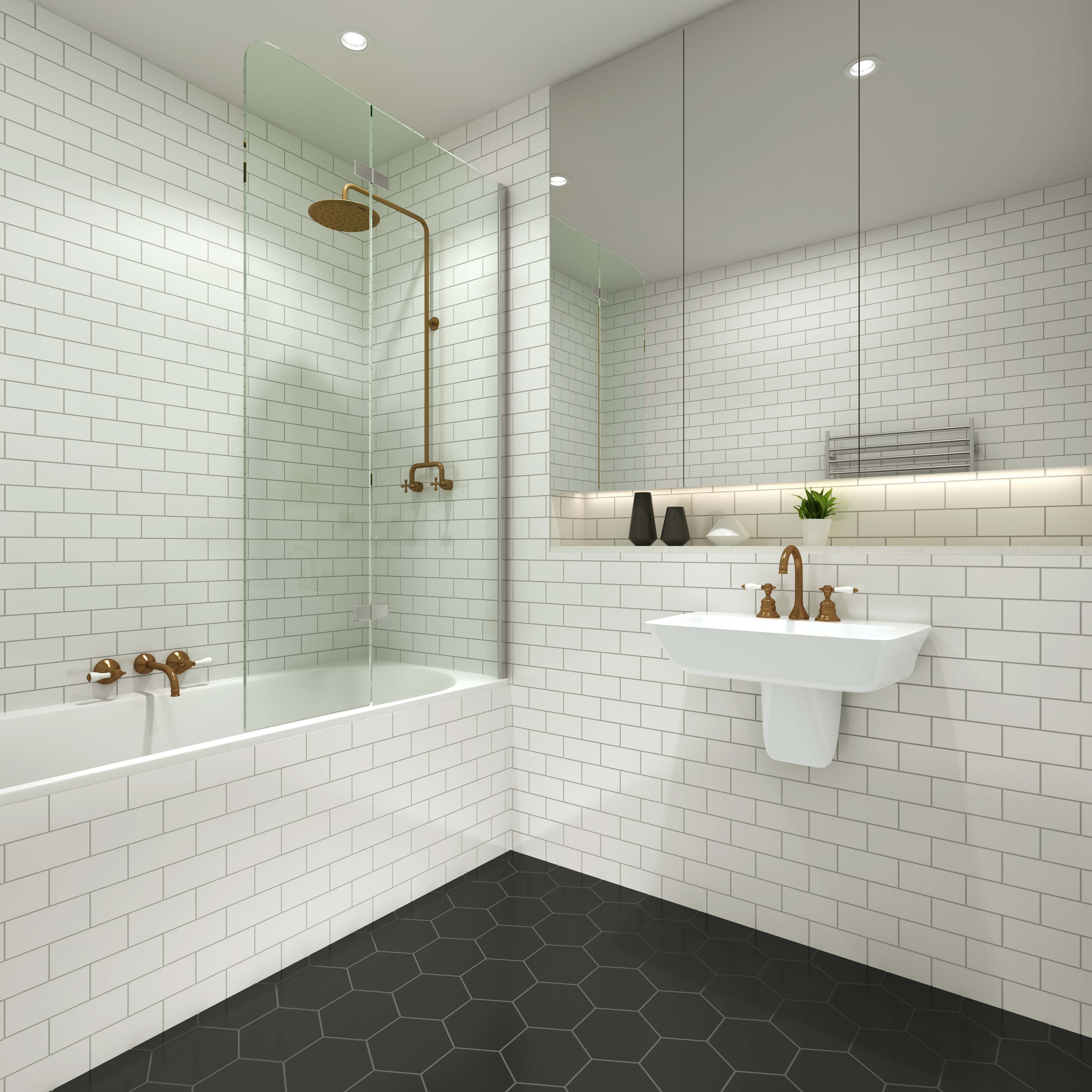 Pivotech duo bathpanel in this cute black white bathroom with pivotech duo bathpanel in this cute black white bathroom with hexagon floor tilebath dailygadgetfo Image collections