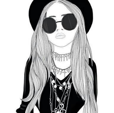 Noir Et Blanc Hipster Girl Drawing Esquisse De Fille Et