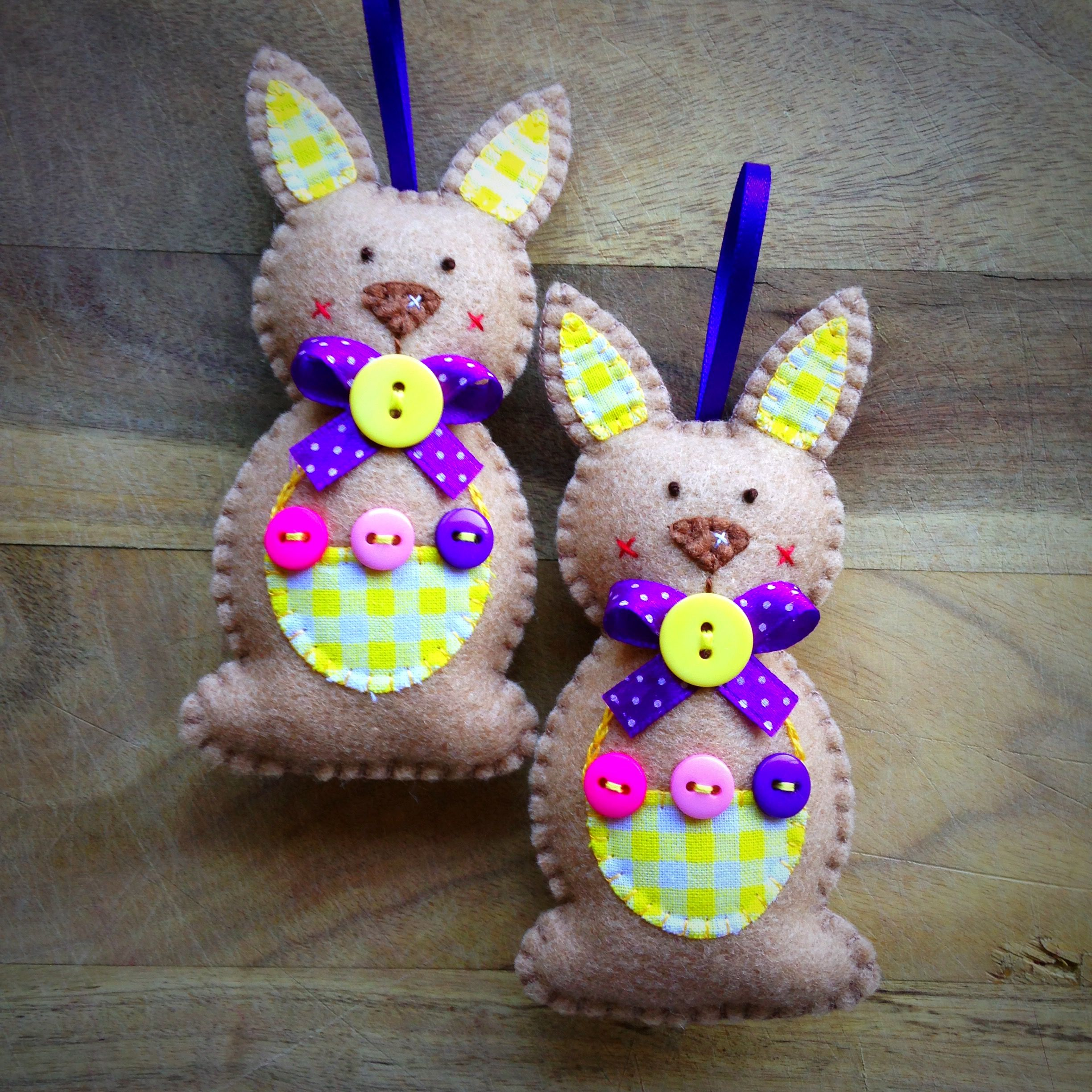 Hand stitched Felt Easter Bunnies