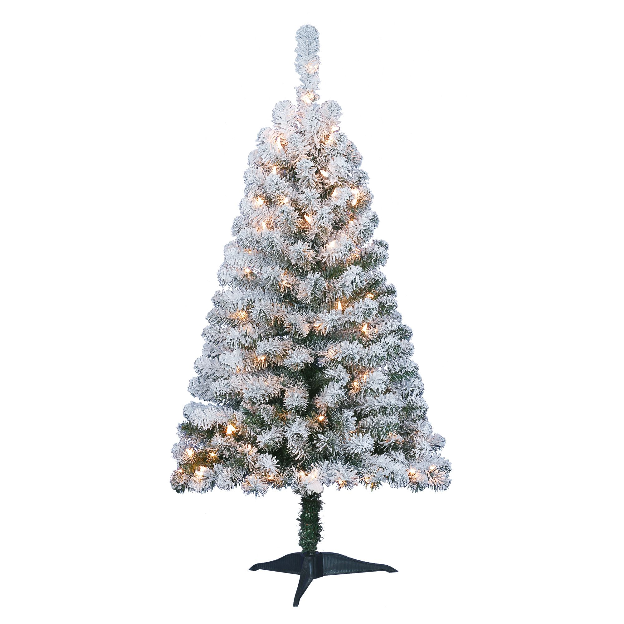 Holiday Time Pre Lit 4 Greenfield Flocked Pine Green Artificial Christmas Tree Clear Lights Walmart Com Pine Christmas Tree Artificial Christmas Tree Pre Lit Christmas Tree
