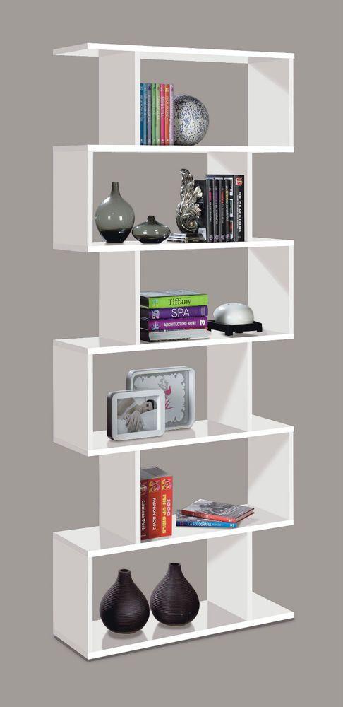 White Gloss Ziggy Bookcase Room Divider Shelf Shelving Display