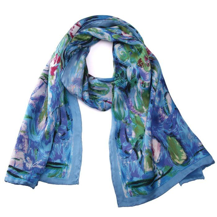 Luxurious 100% Charmeuse Silk Long Scarf Hand Rolled Edge Water Lilies
