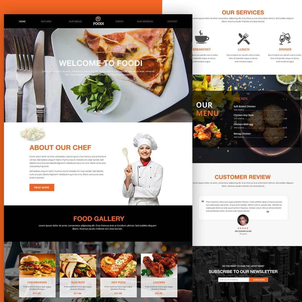 Awesome restaurant website homepage template free psd