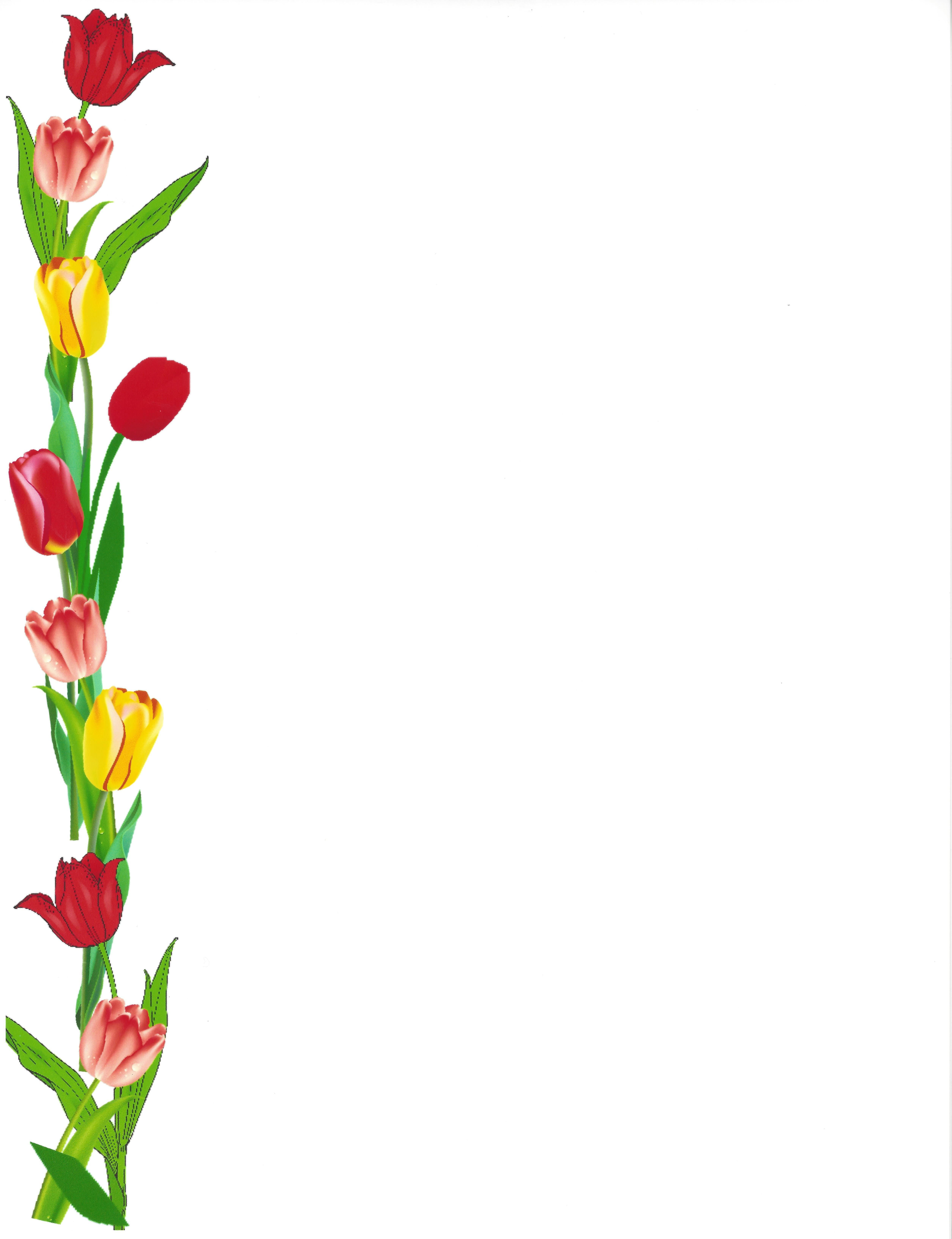 Border Tulips Left Side Colorful Borders Design Frame Border Design Borders For Paper