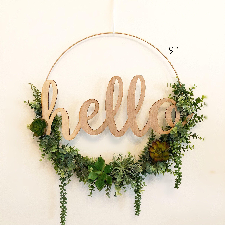 "Photo of 19 ""Succulent Wreath, Modern Hoop Wreath With Faux Succulents, Modern Style Wreath, Farmhouse Style Wreath, Hello Hoop Wreath"