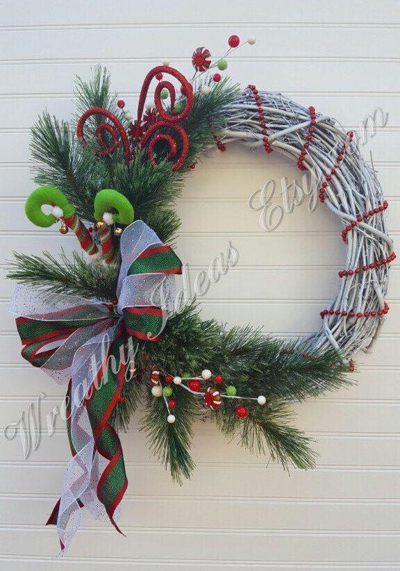 Christmas Wreath,Holiday Wreath,Elf Wreath,White Grapevine Wreath