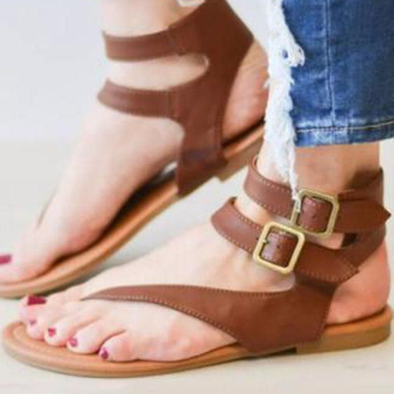950ebabae215 LINE-STYLE BUCKLE BLOCK HEEL THONG SLINGBACK STRAP PLAIN CASUAL SANDALS   Sandals  Leatrend