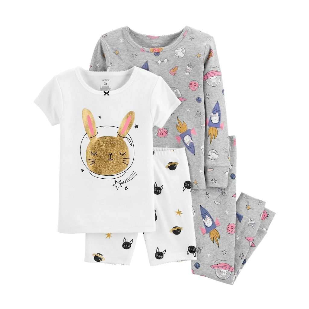 c504a2489fbd82 Baby Girl Carter s Rabbit in Space Glittery Tops   Bottoms Pajama ...