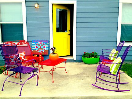 Colorful Patio Furniture Yellow Door Blue House Luchador