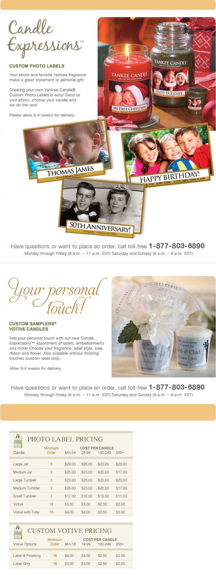 Yankee Candle-- They will make personalized candles! Perfect for ...