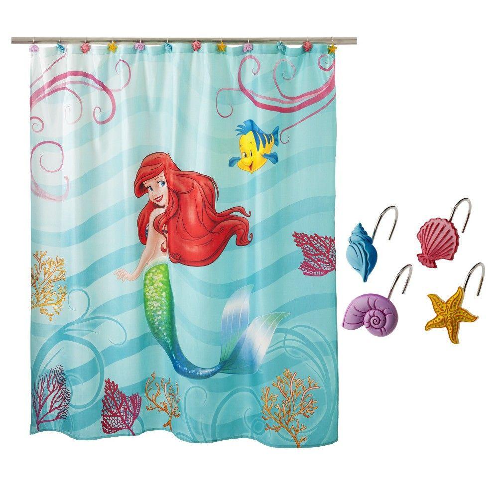Little Mermaid Shower Curtain And Hooks Set, Blue