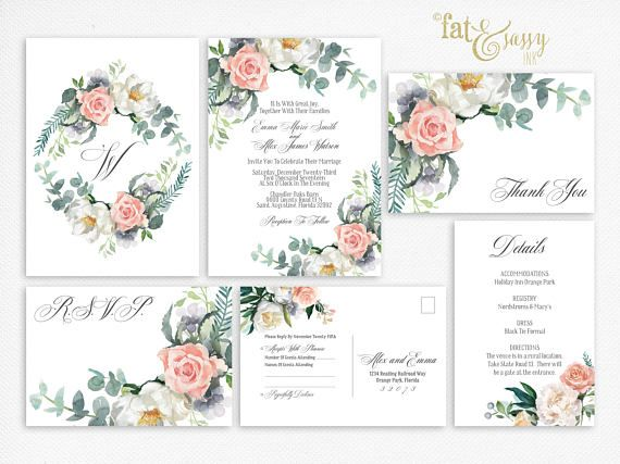 Wedding Invitation Watercolor Flowers Formal Invitation Suite