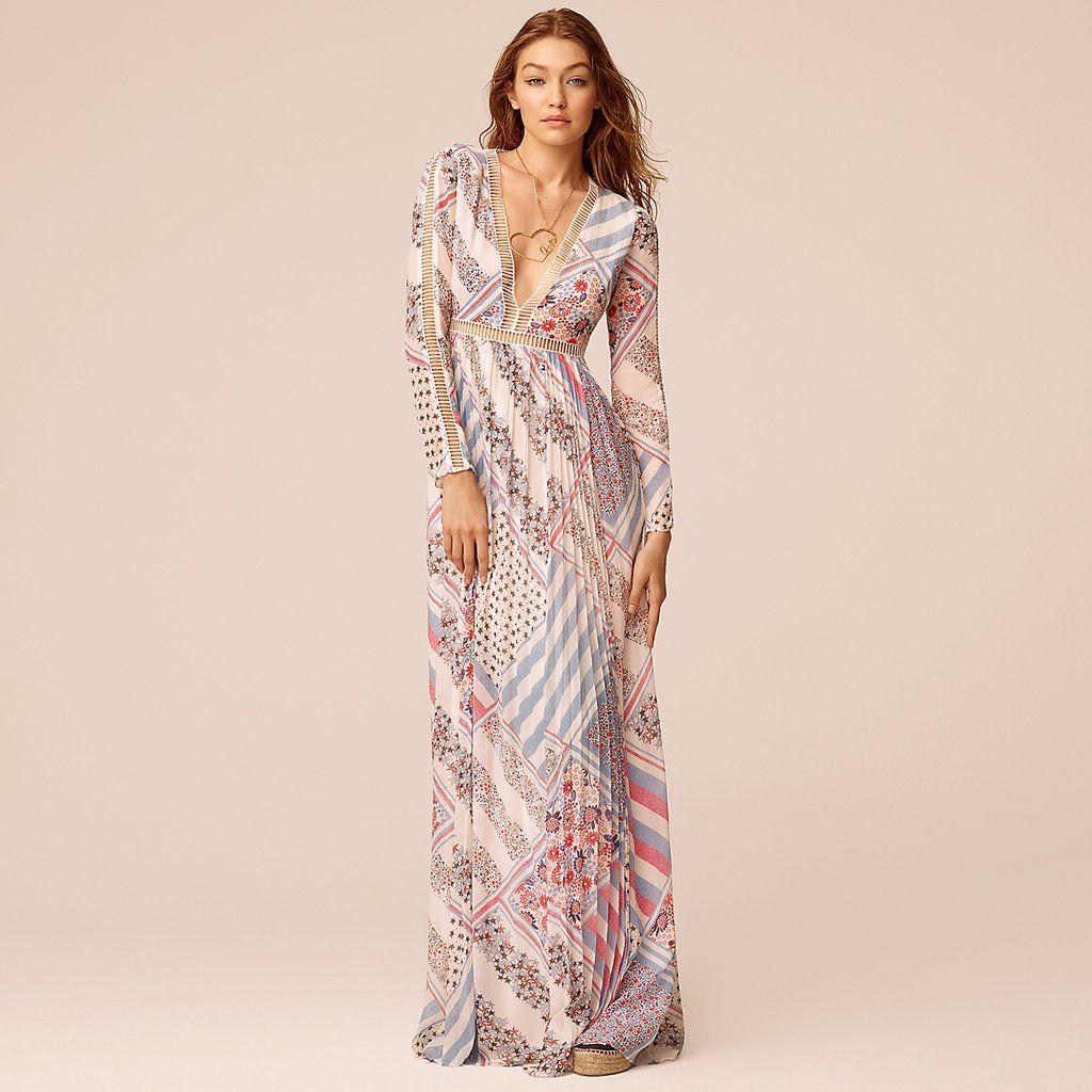 375 Printed Maxi Hadid Silk Hilfiger Gigi Pure Dress X Tommy Wqzg4x1Pf