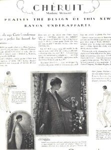 1928 advertisment, Carter's rayon underwear, Cheruit / Madame Wormser | eBay