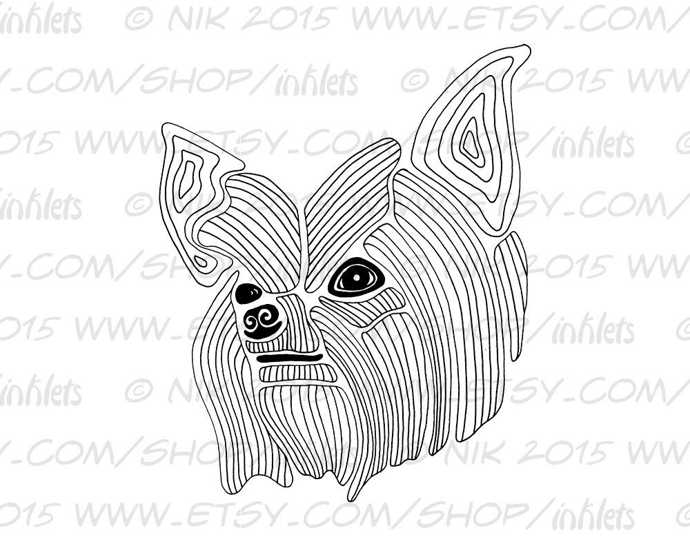 Yorkie Coloring Page Printable Instant Digital Download Jpg Yorkshire Terrier Dog By Inklets On Etsy Coloring Pages Etsy Yorkie [ 792 x 1000 Pixel ]