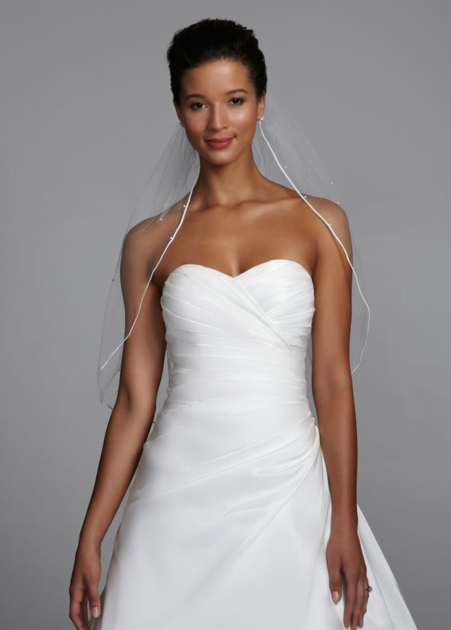 Midlength veil with pearls and crystals scattered davidus bridal