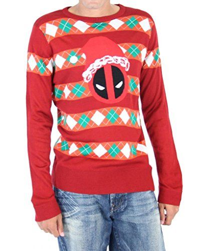 Marvel Deadpool Santa Hat Stripes Adult Red Ugly Christmas Sweater (Adult Small) Marvel http://www.amazon.com/dp/B00PCZPM7O/ref=cm_sw_r_pi_dp_MuCrwb01BZT7F