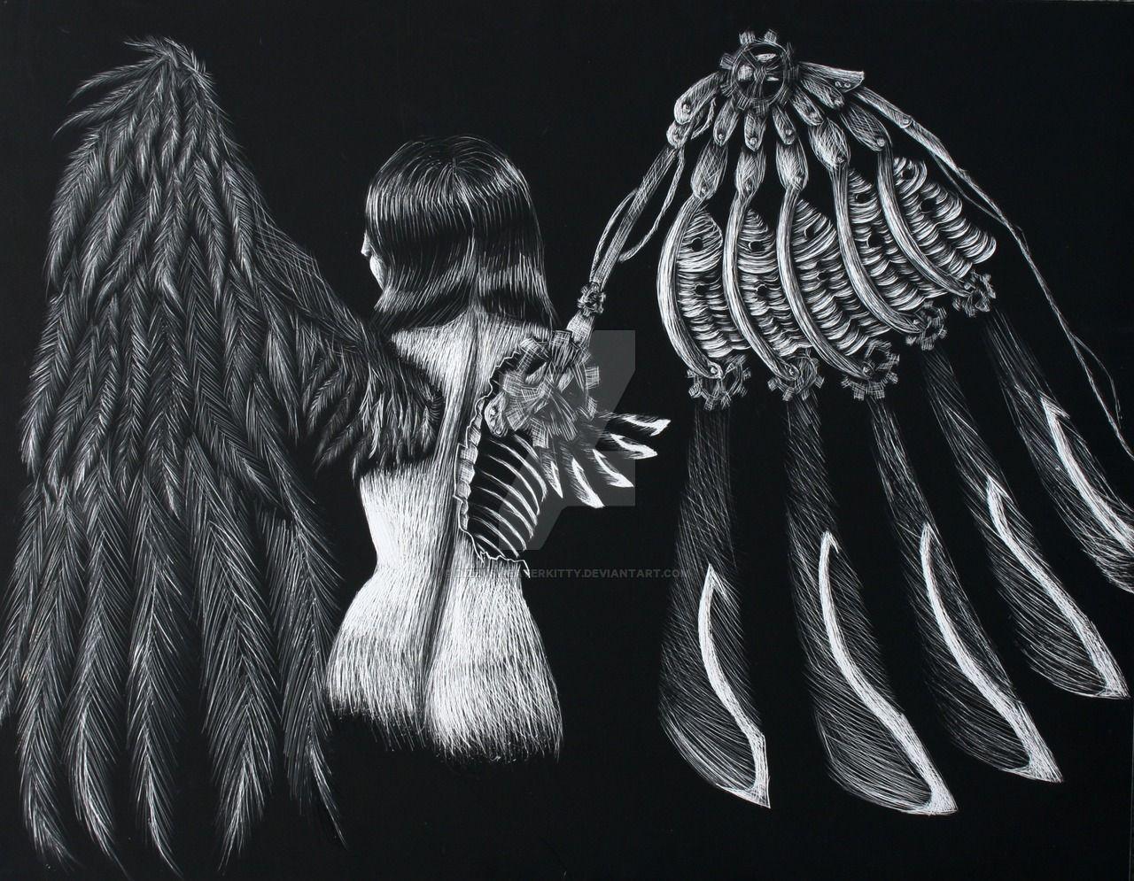 Scratchboard Steampunk Angel by DizzySweaterKitty on DeviantArt