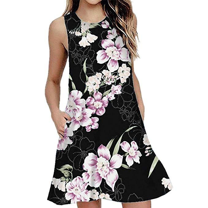31997d4be8 Amazon.com  Womens Sundresses Floral T-Shirt Dress Summer Beach Sleeveless  Tank Dress