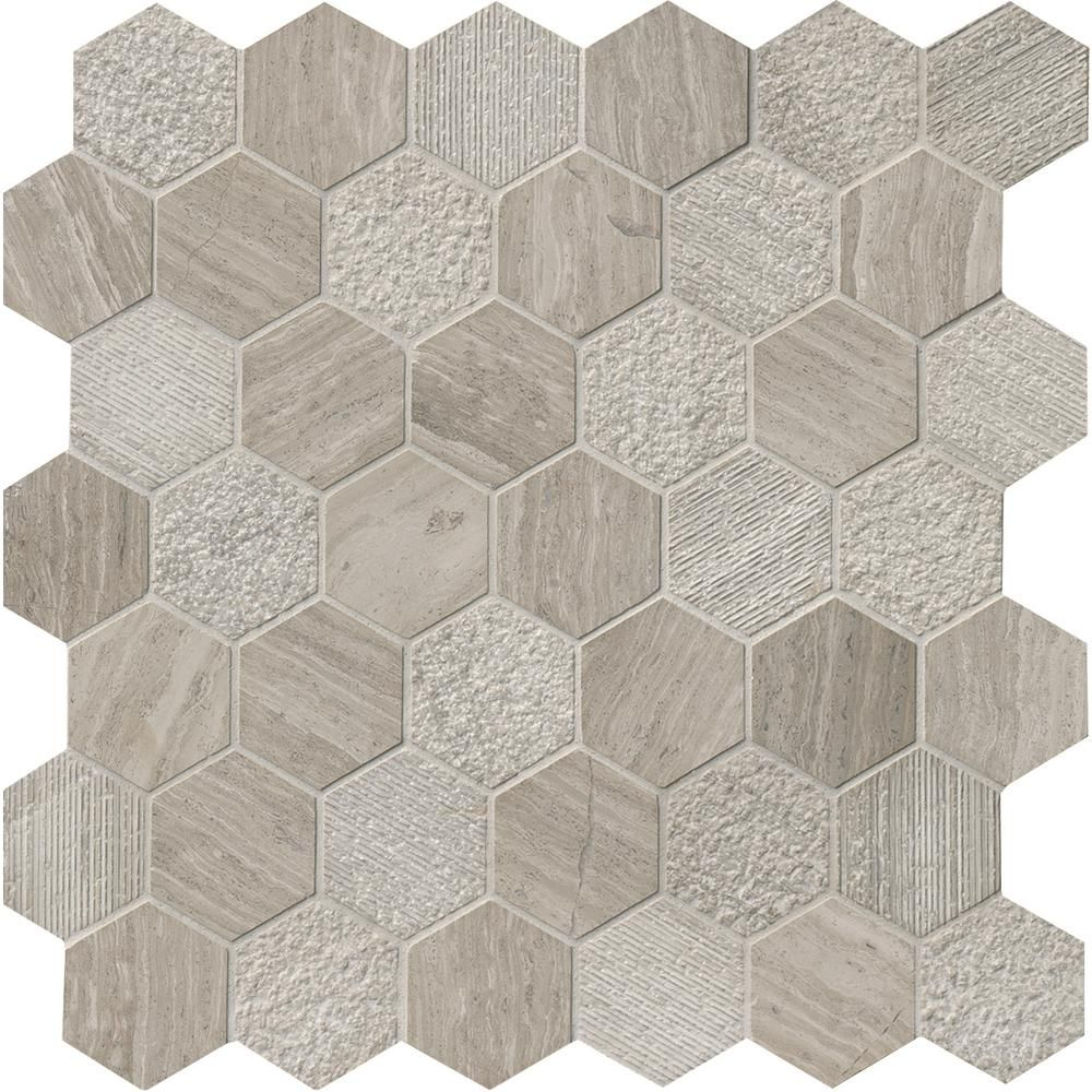 Msi Honeycomb Hexagon 11 75 In X 12 In X 10 Mm Natural Marble Mesh Mounted Mosaic Tile 0 98 Sq Ft Honcom 2hex Tiles Honeycomb Tile Wall Tiles