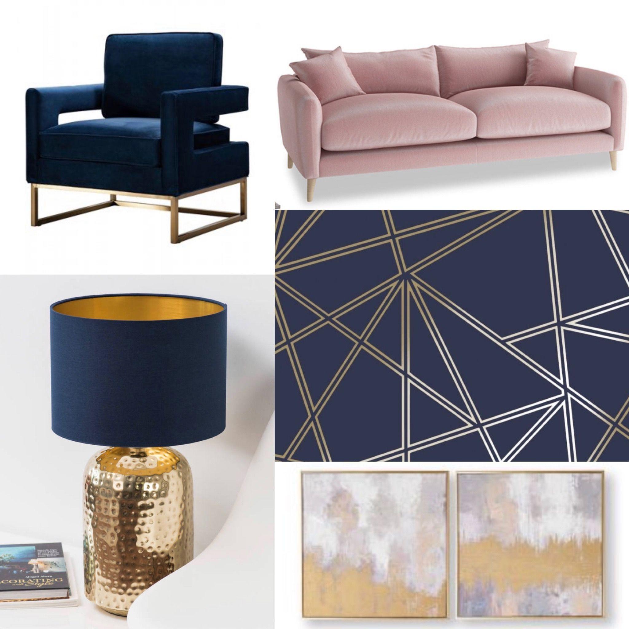 My Blush Pink, Navy, Gold Living Room Idea 💖 #wohnung # ...