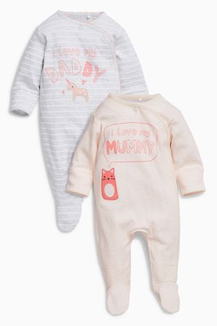 425714981 Pink/Grey Mummy And Daddy Character Sleepsuits Two Pack (0mths-2yrs ...