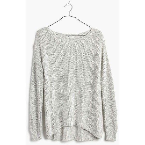 MADEWELL Leftbank Pullover Sweater (510 NOK) ❤ liked on Polyvore featuring tops, sweaters, shirts, marled stone, ribbed sweater, madewell shirt, white pullover sweater, shirt sweater and sweater pullover