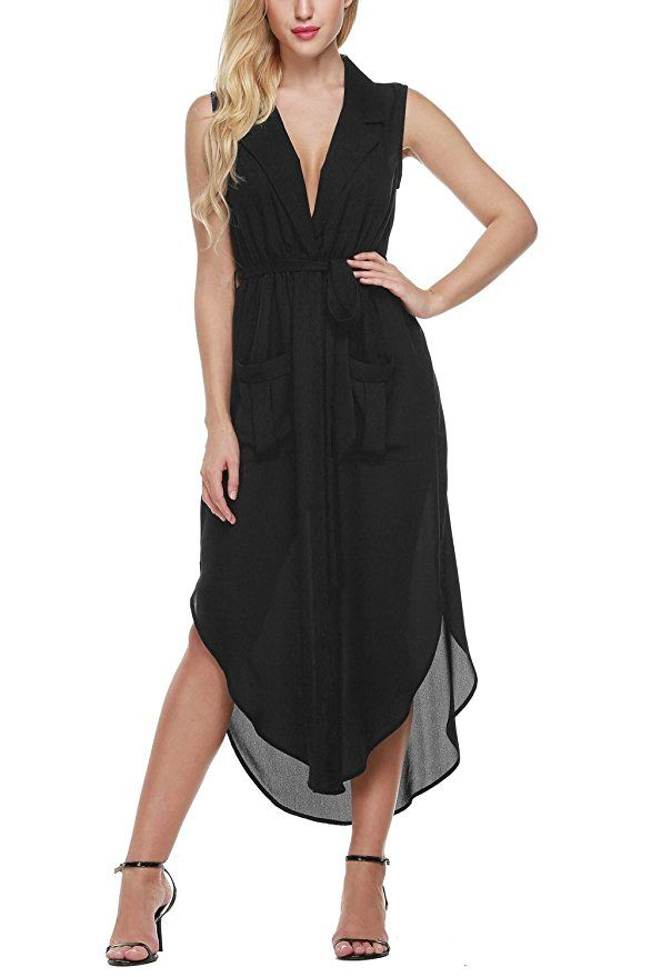 21044a59738 Bluetime Women s Sexy Sleeveless Deep V Neck Split Maxi Dress Party Club  Dress (S