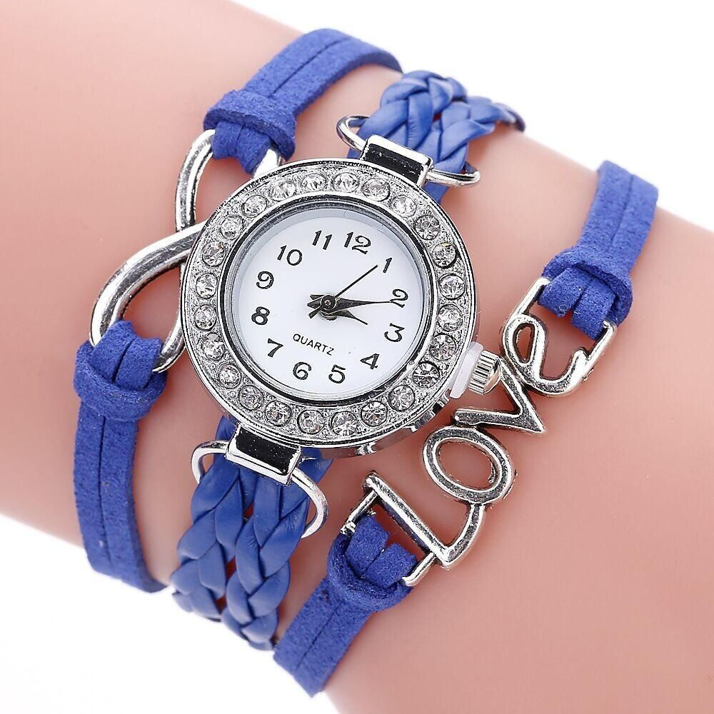 f7753ef57d3 Women Wristwatch Bracelets Fashion Womens Infinity Love Hand-knitted Faux  Leather Chain Quartz Watch Bracelet Watches dress Saat