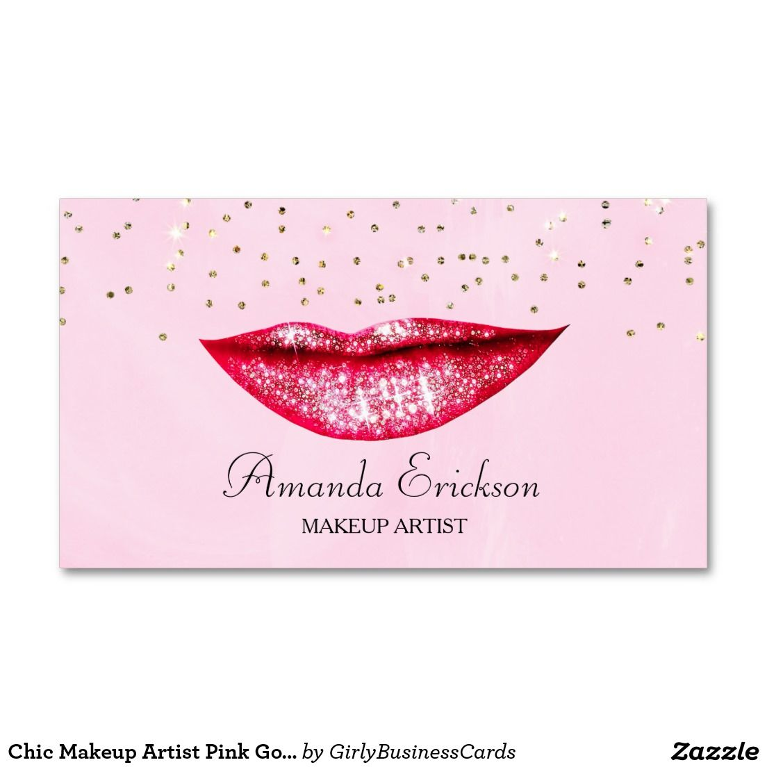 Chic Makeup Artist Pink Gold Faux Diamond Bling Business Card ...