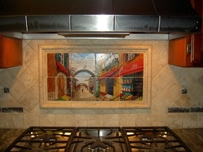 Mural Tiles For Kitchen Decor Mediterranean Kitchen With Artistic Wall Design  Wallpaper Mural