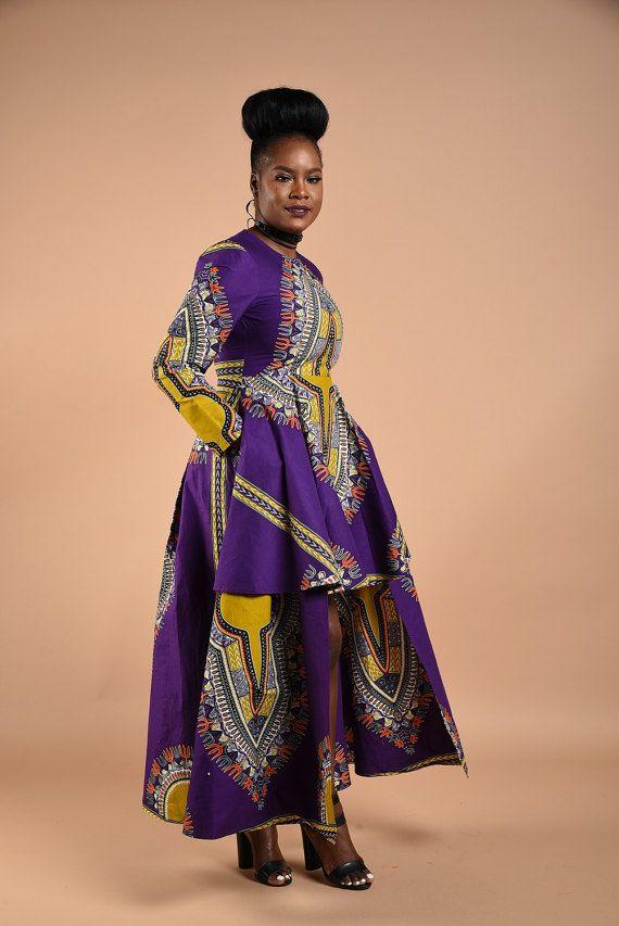 ddd374ea5f2 SALE Purple Dashiki High Low Dress by RAHYMA on Etsy African Print Dresses