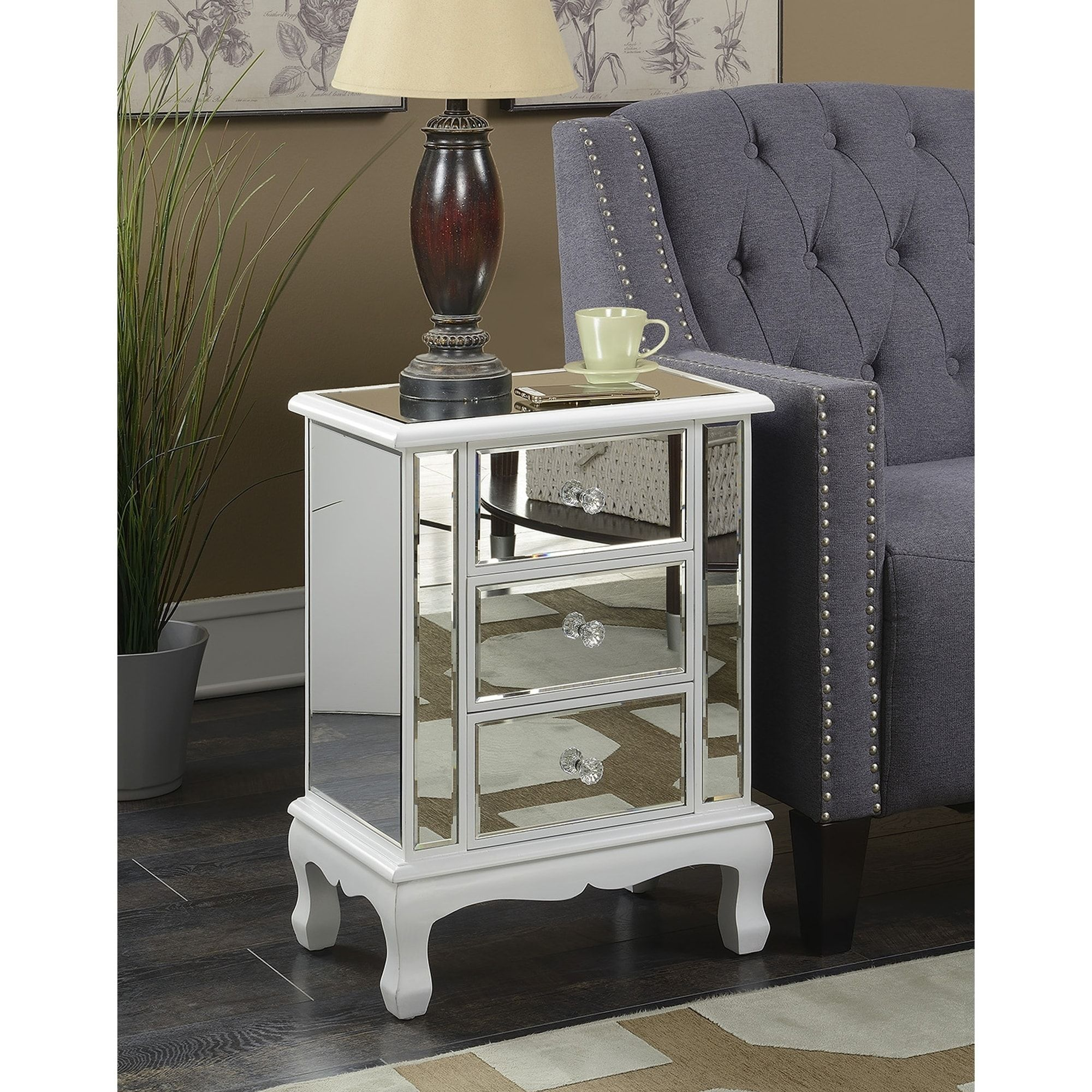 Overstock Com Online Shopping Bedding Furniture Electronics Jewelry Clothing More Mirrored End Table End Tables With Storage White Furniture Living Room
