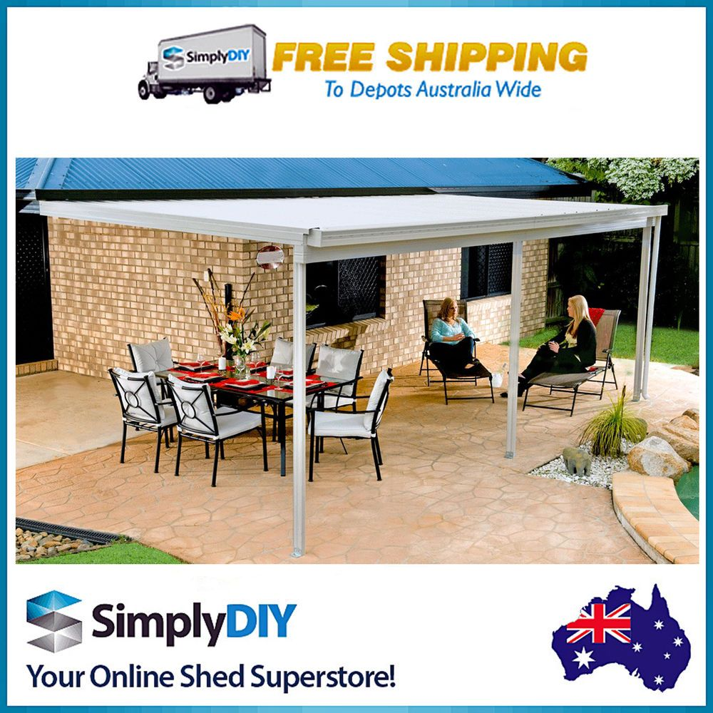 absco patio verandah awning cover flat roof shed 6m x 3m x 3m