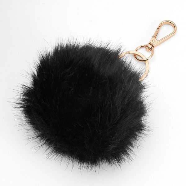 Mudd® Black Pom Pom Key Chain (150 ARS) ❤ liked on Polyvore featuring accessories, black, key chain, pom pom key chain and fob key chain