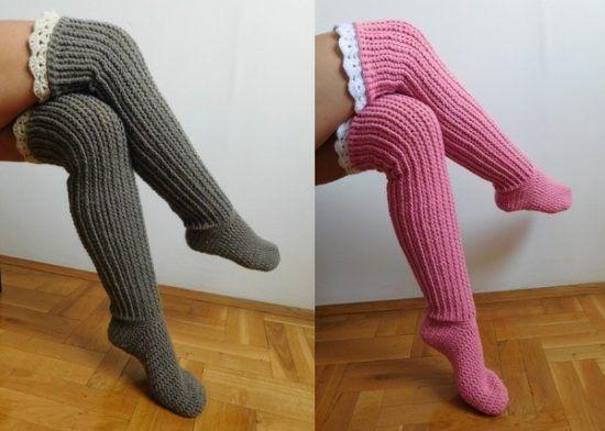 Crochet Knee High Socks Free Pattern Crochet Slippers Pinterest