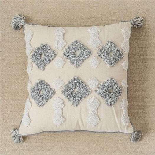 HA Ins Moroccan Style Cushion Cover Geometric Tufted Cotton Embroidered Pillowcase- 45x45cm China S1