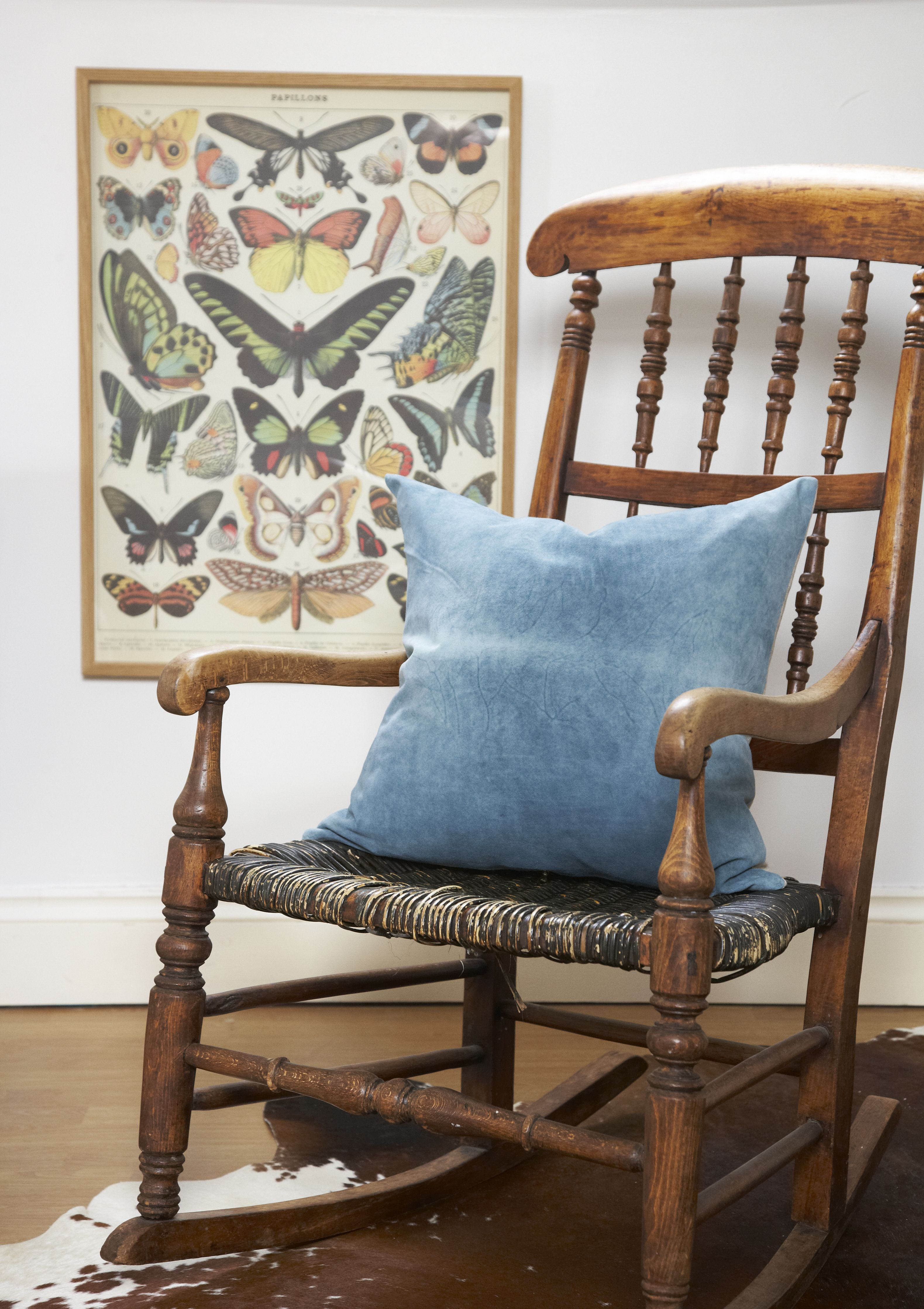 Teal Suede Leather Cushion On Rocking Chair   Butterfly Print. Murphy McCall