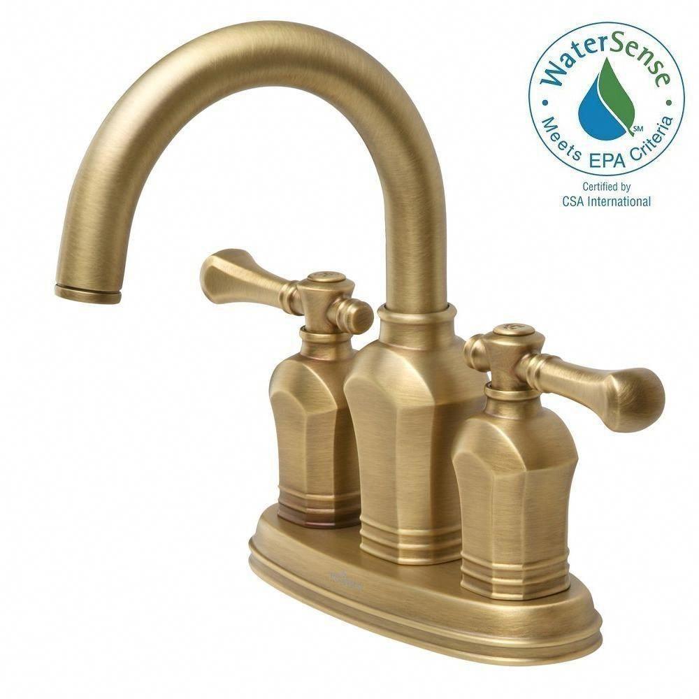 Pegasus Verdanza 4 In Centerset 2 Handle Bathroom Faucet In Antique Brass Bath Antique Brass Bathroom Faucet Brass Bathroom Fixtures High Arc Bathroom Faucet