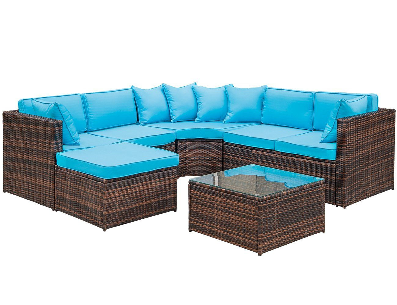 Lz Leisure Zone 7 Piece Patio Furniture Set Outdoor Wicker Sofa