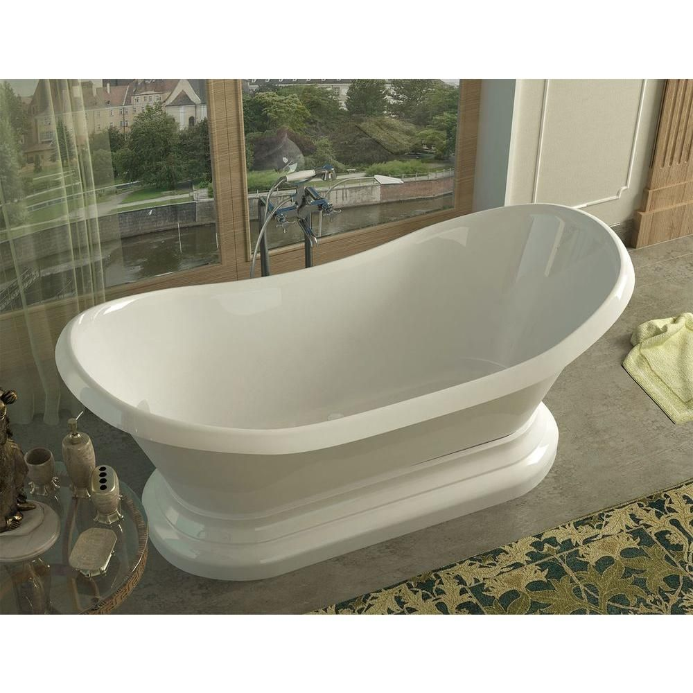 Universal Tubs Ivory 6 ft. Acrylic Center Drain Oval Bathtub in ...