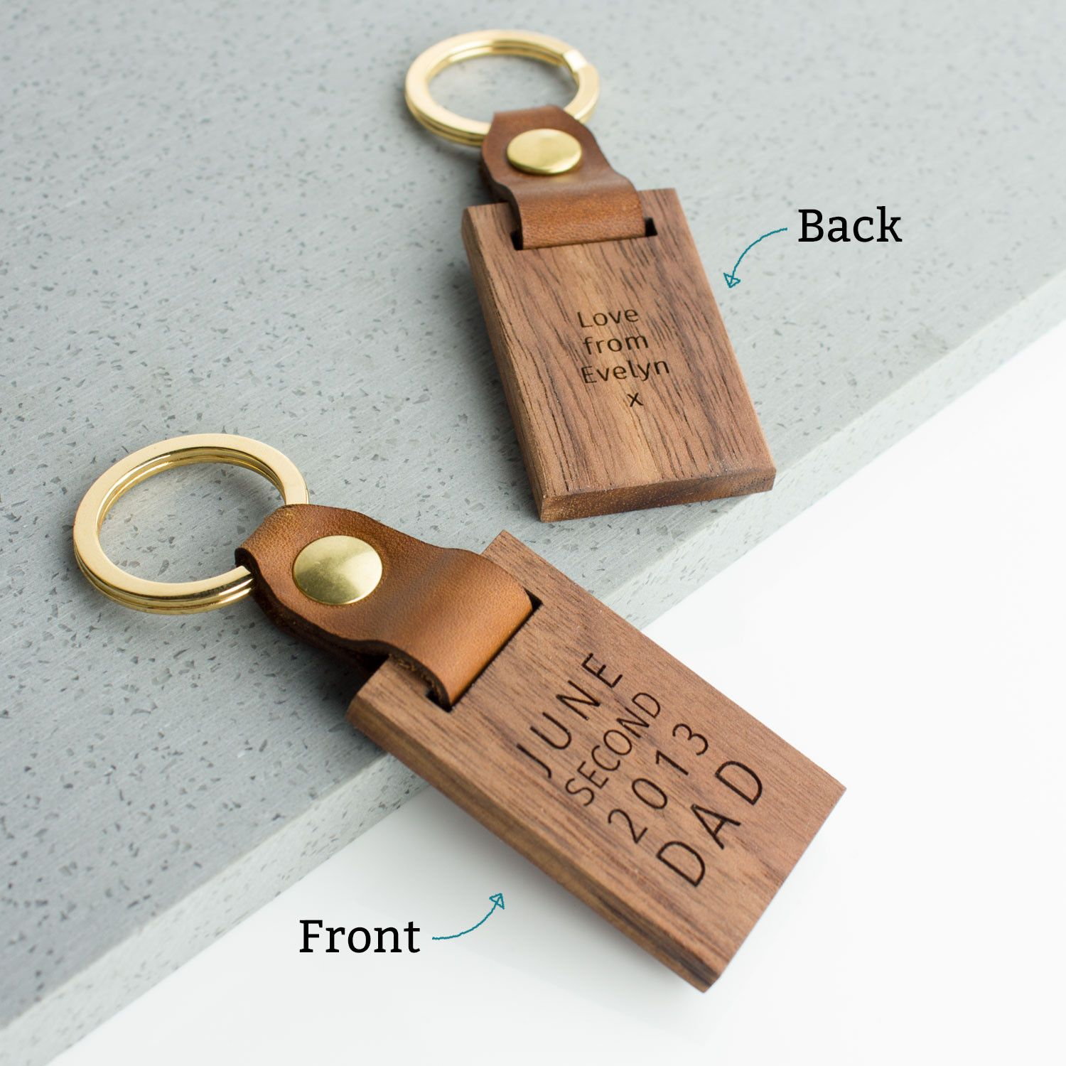 Personalised Luxury Leather Wood Keyring  307c3fa27e