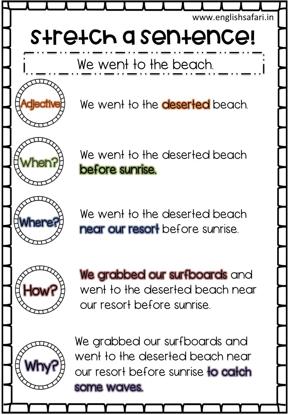 Free Stretch A Sentence Www Englishsafari In In 2020 Third Grade Writing First Grade Writing Writing Sentences Worksheets