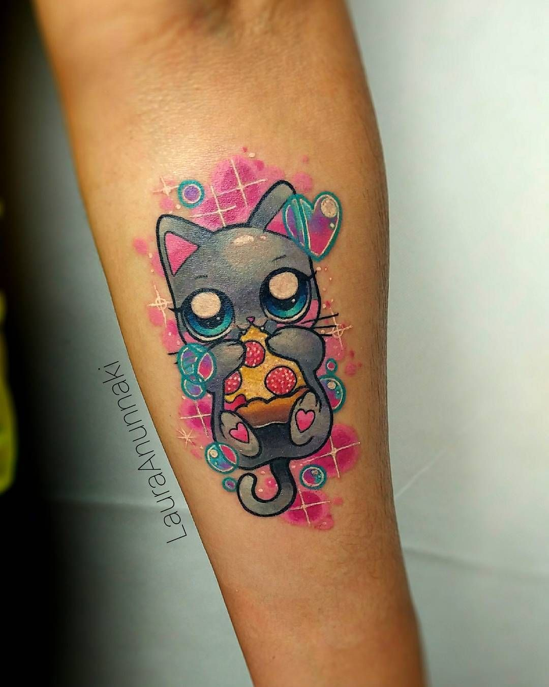 Cats And Pizza Tattoo Kawaii Tattoo Pizza Tattoo Tattoos