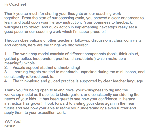Instructional Coach Blog Specifically Like This Letter For A Wrap