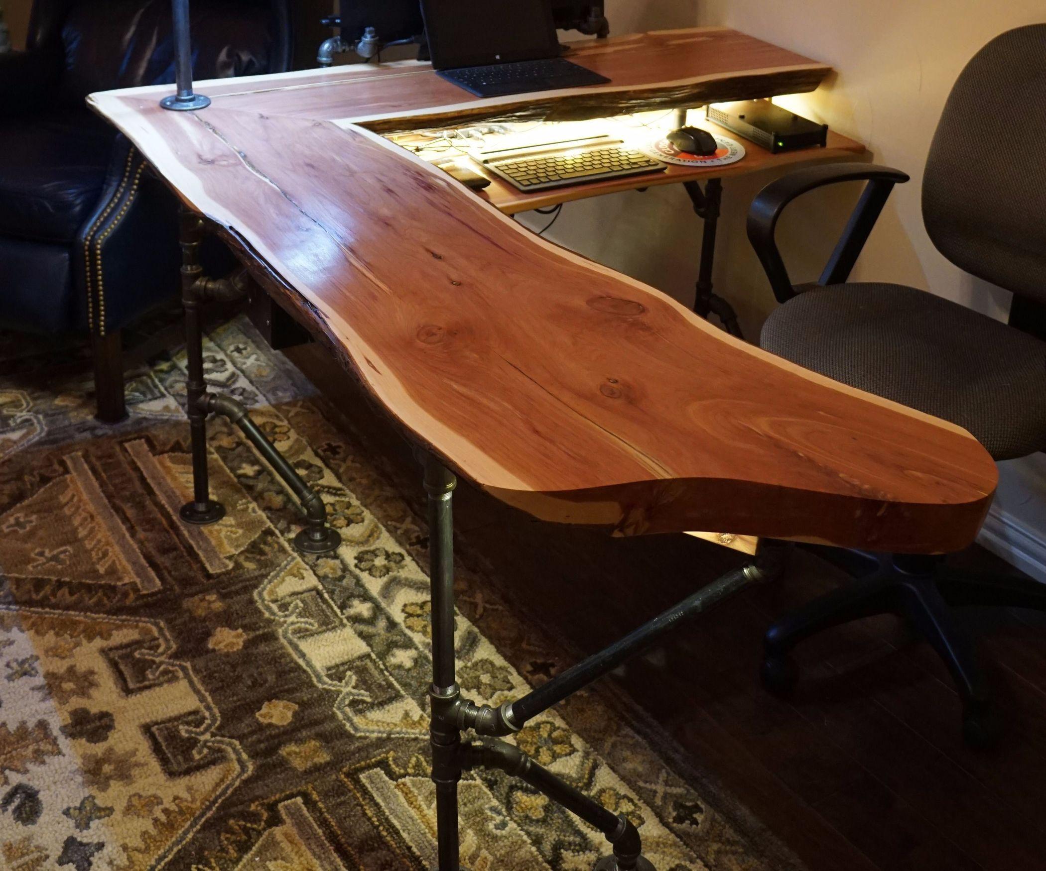 Live Edge Cedar Industrial Computer Desk Wood Office Desk Slab Desk Live Edge Desk